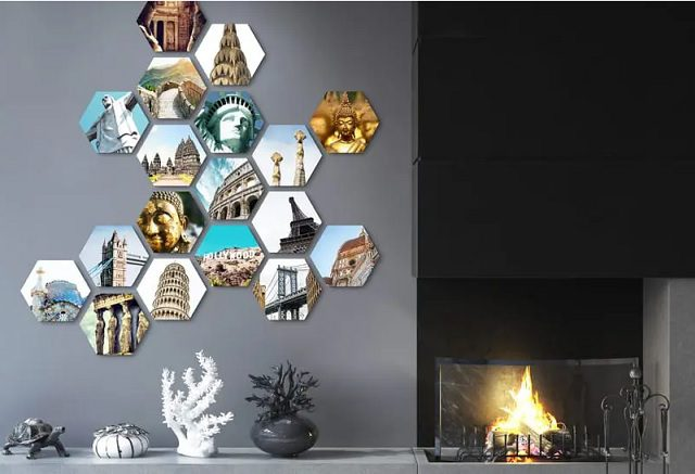 Hexagon vormen met persoonlijke foto's als wanddecoratie
